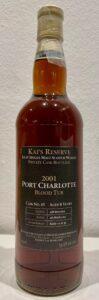 """Eine Flasche Port Charlotte 2001 Private Bottling """"Kai""""."""