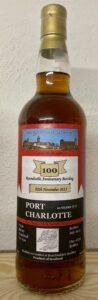 Eine Flasche Port Charlotte 10-year-old abgefüllt zum 100. Whiskystammtisch Nürnberg
